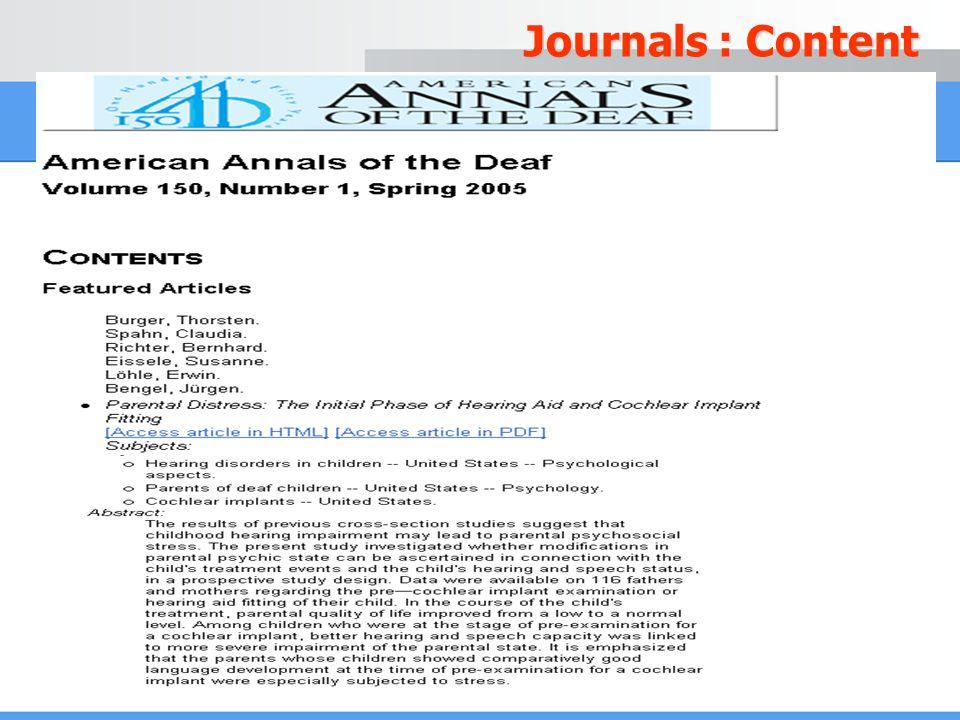 Journals : Content