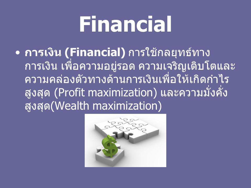 Financial การเงิน (Financial) การใช้กลยุทธ์ทาง การเงิน เพื่อความอยู่รอด ความเจริญเติบโตและ ความคล่องตัวทางด้านการเงินเพื่อให้เกิดกำไร สูงสุด (Profit maximization) และความมั่งคั่ง สูงสุด (Wealth maximization)
