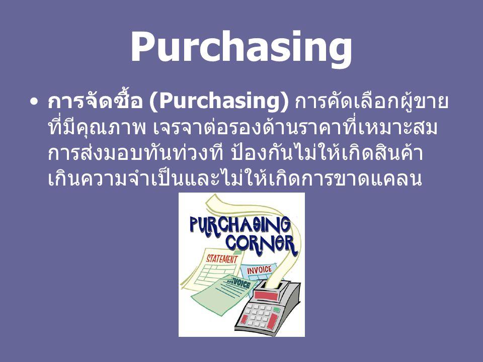 Purchasing การจัดซื้อ (Purchasing) การคัดเลือกผู้ขาย ที่มีคุณภาพ เจรจาต่อรองด้านราคาที่เหมาะสม การส่งมอบทันท่วงที ป้องกันไม่ให้เกิดสินค้า เกินความจำเป็นและไม่ให้เกิดการขาดแคลน