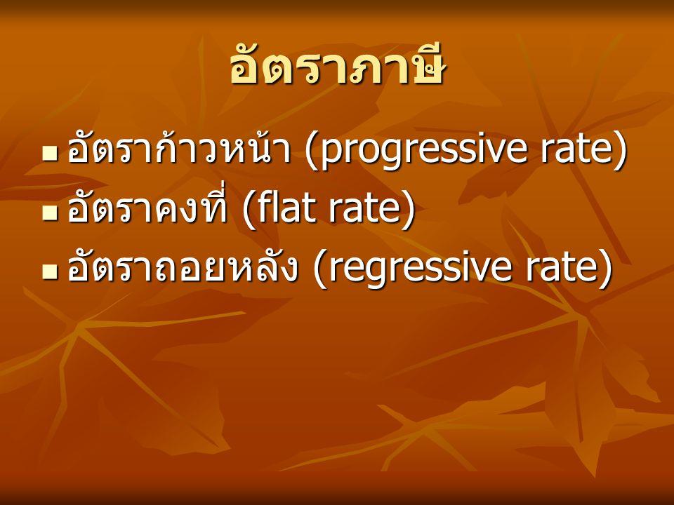 อัตราภาษี อัตราก้าวหน้า (progressive rate) อัตราคงที่ (flat rate) อัตราถอยหลัง (regressive rate)