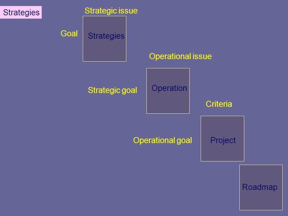 Goal Strategic issue Strategic goal Operational issue Operational goal Criteria Strategies Operation Project Roadmap Strategies
