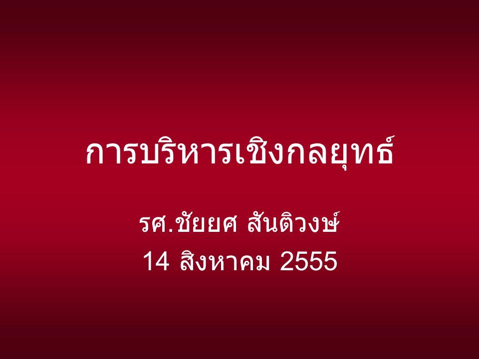การบริหารเชิงกลยุทธ์ รศ. ชัยยศ สันติวงษ์ 14 สิงหาคม 2555
