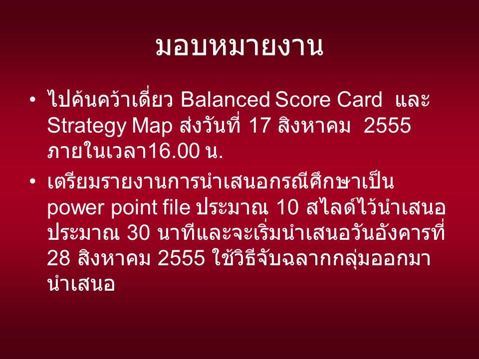 มอบหมายงาน ไปค้นคว้าเดี่ยว Balanced Score Card และ Strategy Map ส่งวันที่ 17 สิงหาคม 2555 ภายในเวลา 16.00 น.