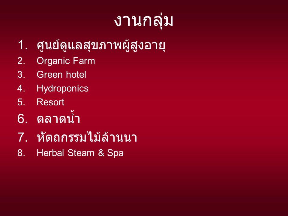 งานกลุ่ม 1.ศูนย์ดูแลสุขภาพผู้สูงอายุ 2.Organic Farm 3.Green hotel 4.Hydroponics 5.Resort 6.