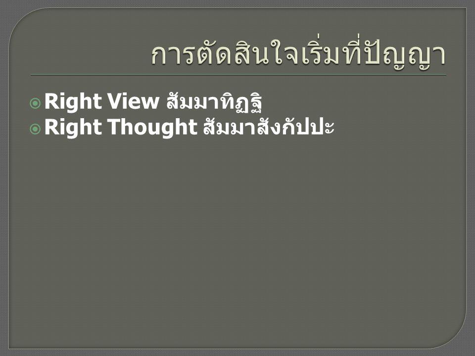  Right View สัมมาทิฏฐิ  Right Thought สัมมาสังกัปปะ