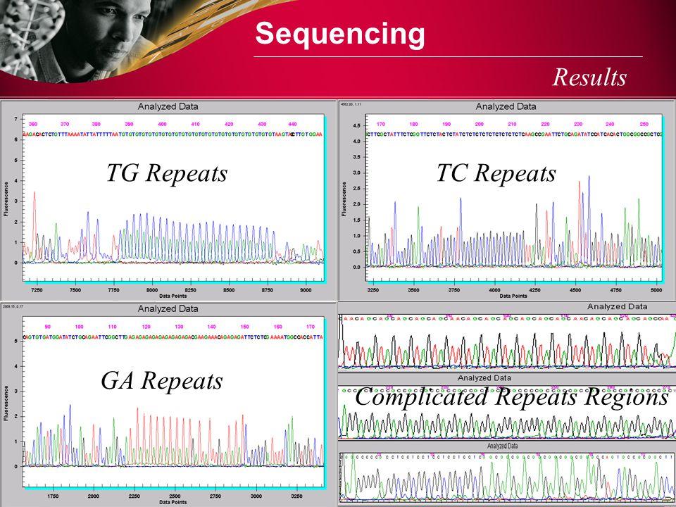 Sequencing Results TG RepeatsTC Repeats GA Repeats Complicated Repeats Regions