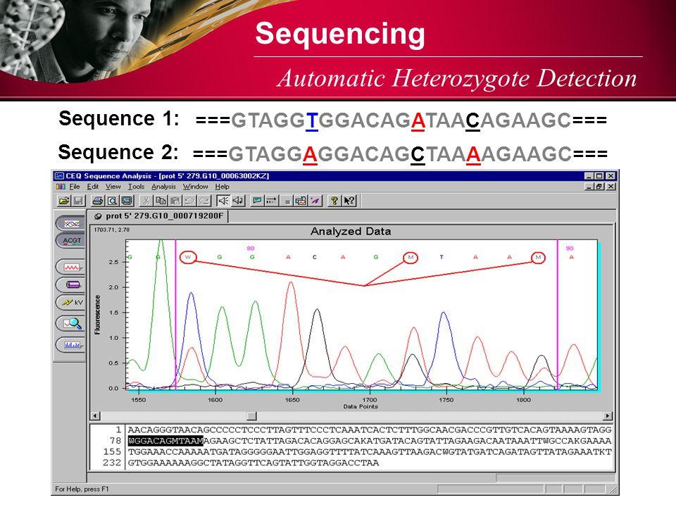 Automatic Heterozygote Detection ===GTAGGTGGACAGATAACAGAAGC=== Sequence 1: ===GTAGGAGGACAGCTAAAAGAAGC=== Sequence 2: Sequencing