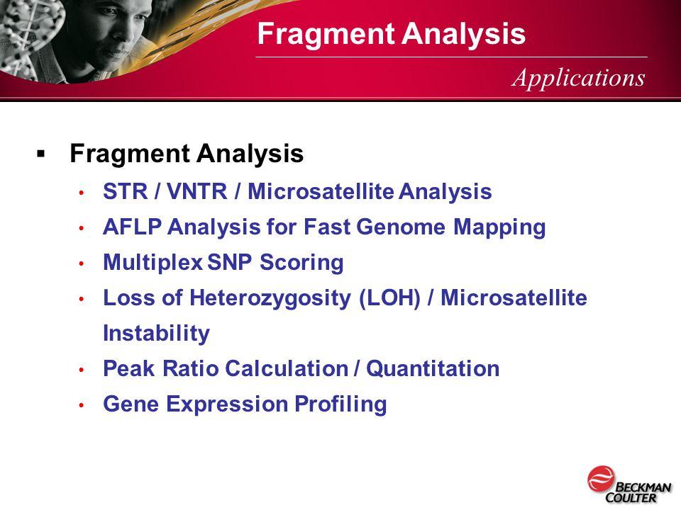  Fragment Analysis STR / VNTR / Microsatellite Analysis AFLP Analysis for Fast Genome Mapping Multiplex SNP Scoring Loss of Heterozygosity (LOH) / Mi