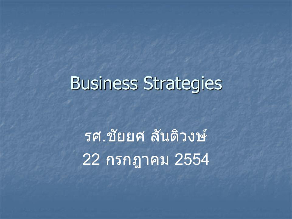 Business Strategies รศ. ชัยยศ สันติวงษ์ 22 กรกฎาคม 2554