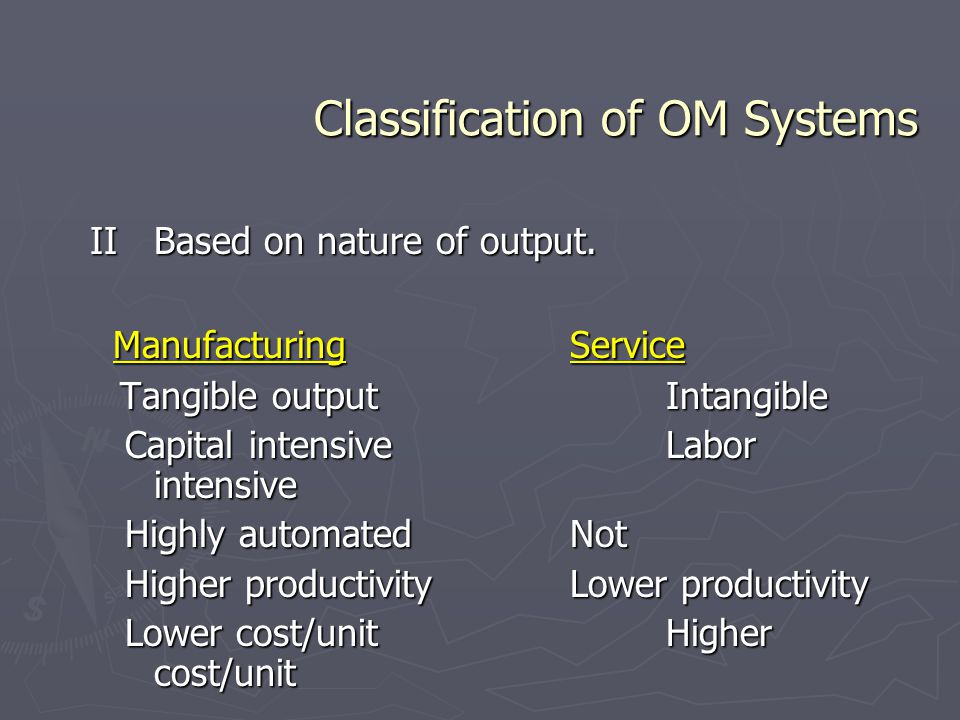 Classification of OM Systems IIBased on nature of output. ManufacturingService ManufacturingService Tangible outputIntangible Tangible outputIntangibl