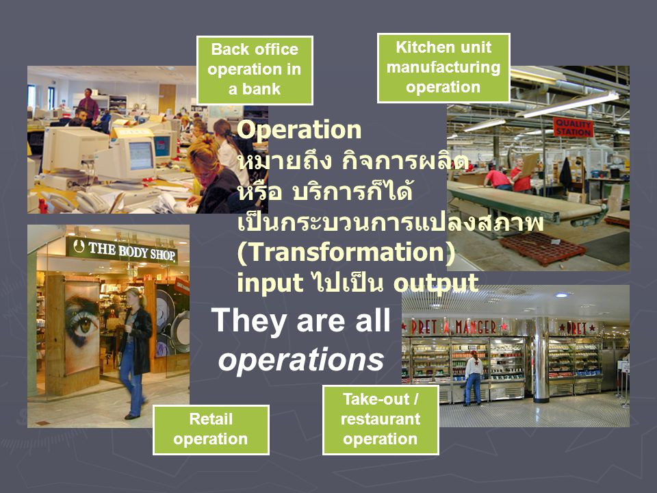 They are all operations Retail operation Back office operation in a bank Take-out / restaurant operation Kitchen unit manufacturing operation Operatio