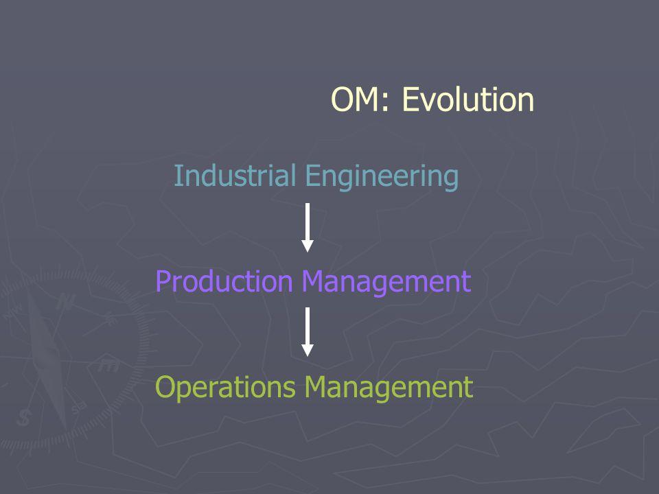 OM: Evolution Industrial Engineering Production Management Operations Management