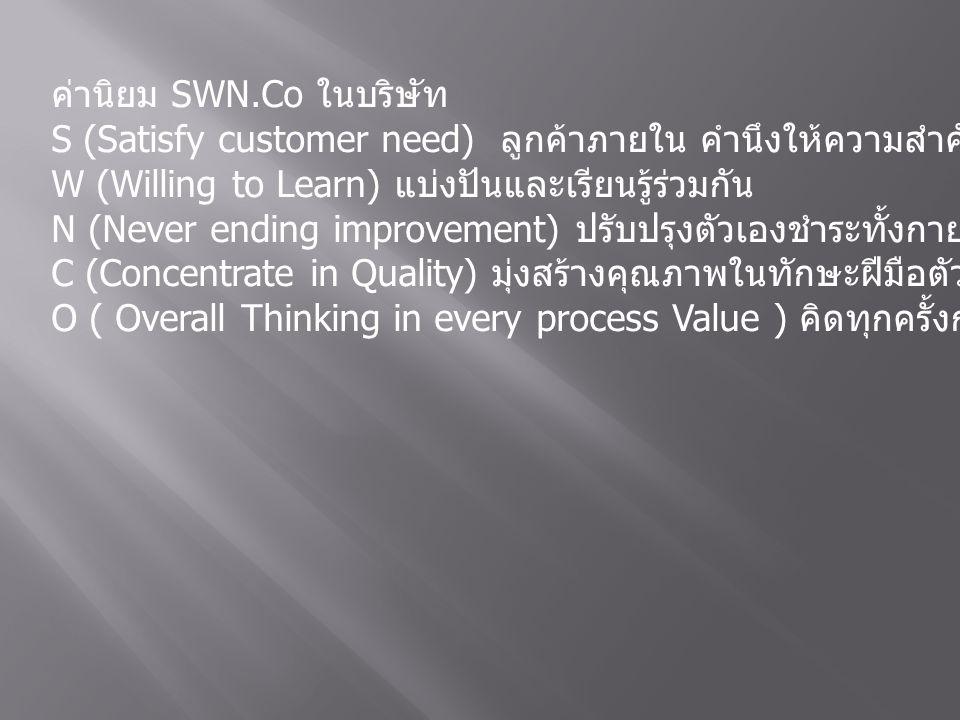 ค่านิยม SWN.Co ในบริษัท S (Satisfy customer need) ลูกค้าภายใน คำนึงให้ความสำคัญผู้ร่วมงาน W (Willing to Learn) แบ่งปันและเรียนรู้ร่วมกัน N (Never ending improvement) ปรับปรุงตัวเองชำระทั้งกายและใจอยู่เสมอ C (Concentrate in Quality) มุ่งสร้างคุณภาพในทักษะฝีมือตัวเอง O ( Overall Thinking in every process Value ) คิดทุกครั้งก่อนที่จะทำ