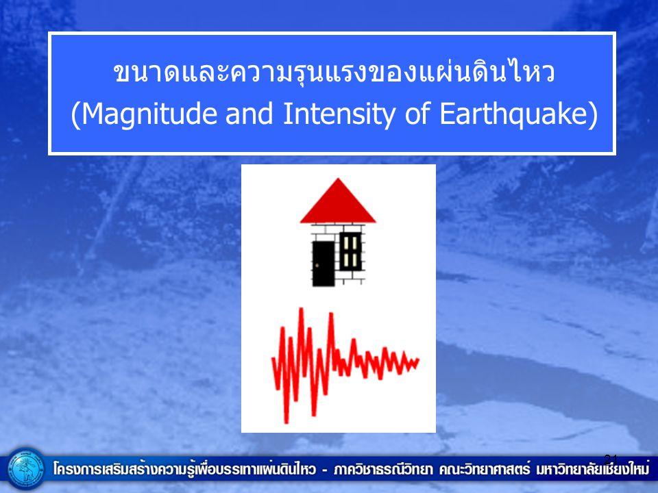 21 ขนาดและความรุนแรงของแผ่นดินไหว (Magnitude and Intensity of Earthquake)