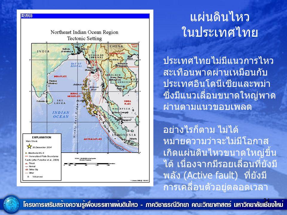 34 แผ่นดินไหว ในประเทศไทย ประเทศไทยไม่มีแนวการไหว สะเทือนพาดผ่านเหมือนกับ ประเทศอินโดนีเซียและพม่า ซึ่งมีแนวเลื่อนขนาดใหญ่พาด ผ่านตามแนวขอบเพลต อย่างไ