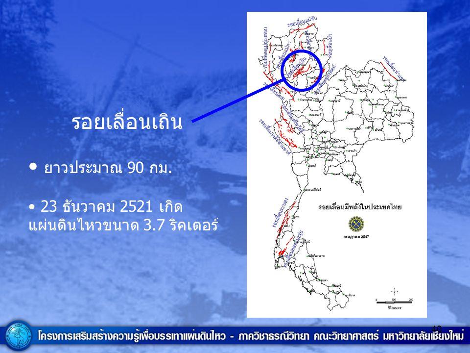 40 รอยเลื่อนเถิน ยาวประมาณ 90 กม. 23 ธันวาคม 2521 เกิด แผ่นดินไหวขนาด 3.7 ริคเตอร์