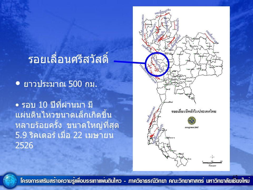 43 รอยเลื่อนศรีสวัสดิ์ ยาวประมาณ 500 กม. รอบ 10 ปีที่ผ่านมา มี แผ่นดินไหวขนาดเล็กเกิดขึ้น หลายร้อยครั้ง ขนาดใหญ่ที่สุด 5.9 ริคเตอร์ เมื่อ 22 เมษายน 25