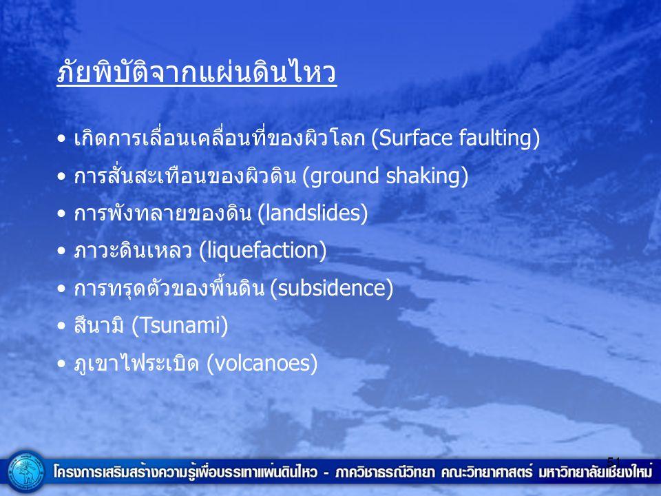 51 ภัยพิบัติจากแผ่นดินไหว เกิดการเลื่อนเคลื่อนที่ของผิวโลก (Surface faulting) การสั่นสะเทือนของผิวดิน (ground shaking) การพังทลายของดิน (landslides) ภ