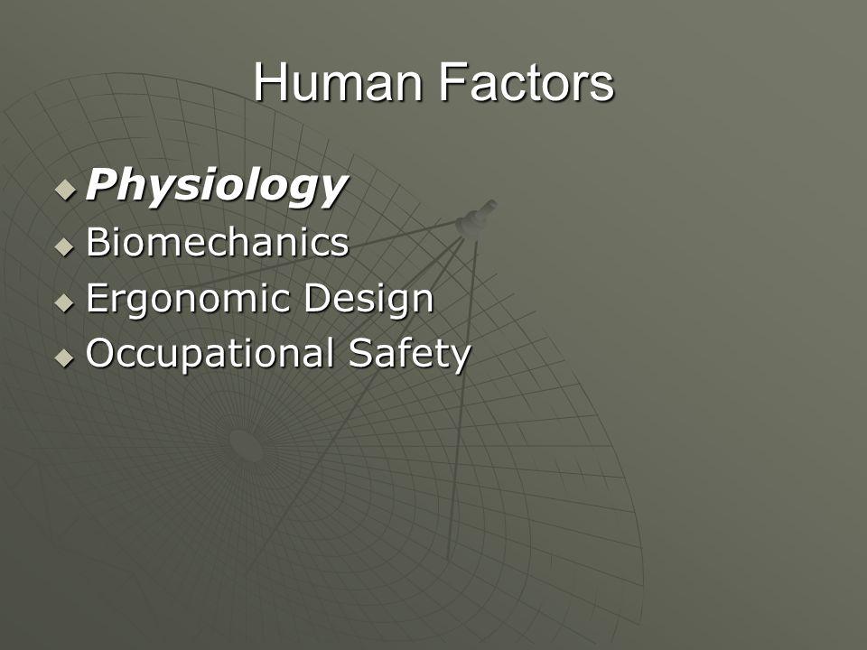Human Factors  Physiology  Biomechanics  Ergonomic Design  Occupational Safety