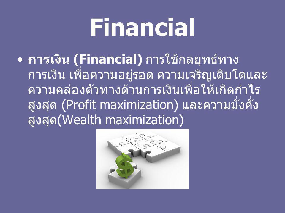 Financial การเงิน (Financial) การใช้กลยุทธ์ทาง การเงิน เพื่อความอยู่รอด ความเจริญเติบโตและ ความคล่องตัวทางด้านการเงินเพื่อให้เกิดกำไร สูงสุด (Profit m