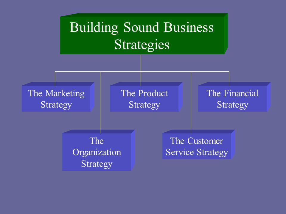 Building Sound Business Strategies The Marketing Strategy The Organization Strategy The Customer Service Strategy The Financial Strategy The Product S