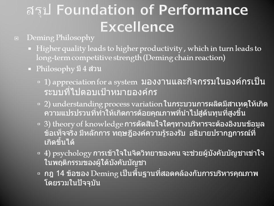  Deming Philosophy  Higher quality leads to higher productivity, which in turn leads to long-term competitive strength (Deming chain reaction)  Philosophy มี 4 ส่วน  1) appreciation for a system มองงานและกิจกรรมในองค์กรเป็น ระบบที่ไปตอบเป้าหมายองค์กร  2) understanding process variation ในกระบวนการผลิตมีสาเหตุให้เกิด ความแปรปรวนที่ทำให้เกิดการด้อยคุณภาพที่นำไปสู่ต้นทุนที่สูงขึ้น  3) theory of knowledge การตัดสินใจใดๆทางบริหารจะต้องอิงบนข้อมูล ข้อเท็จจริง มีหลักการ ทฤษฎีองค์ความรู้รองรับ อธิบายปรากฏการณ์ที่ เกิดขึ้นได้  4) psychology การเข้าใจในจิตวิทยาของคน จะช่วยผู้บังคับบัญชาเข่าใจ ในพฤติกรรมของผู้ใต้บังคับบัญชา  กฎ 14 ข้อของ Deming เป็นพื้นฐานที่สอดคล้องกับการบริหารคุณภาพ โดยรวมในปัจจุบัน