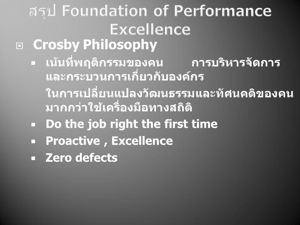  Crosby Philosophy  เน้นที่พฤติกรรมของคน การบริหารจัดการ และกระบวนการเกี่ยวกับองค์กร ในการเปลี่ยนแปลงวัฒนธรรมและทัศนคติของคน มากกว่าใช้เครื่องมือทางสถิติ  Do the job right the first time  Proactive, Excellence  Zero defects