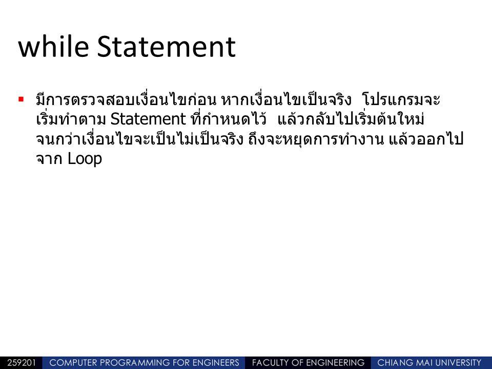 while Statement  มีการตรวจสอบเงื่อนไขก่อน หากเงื่อนไขเป็นจริง โปรแกรมจะ เริ่มทำตาม Statement ที่กำหนดไว้ แล้วกลับไปเริ่มต้นใหม่ จนกว่าเงื่อนไขจะเป็นไม่เป็นจริง ถึงจะหยุดการทำงาน แล้วออกไป จาก Loop