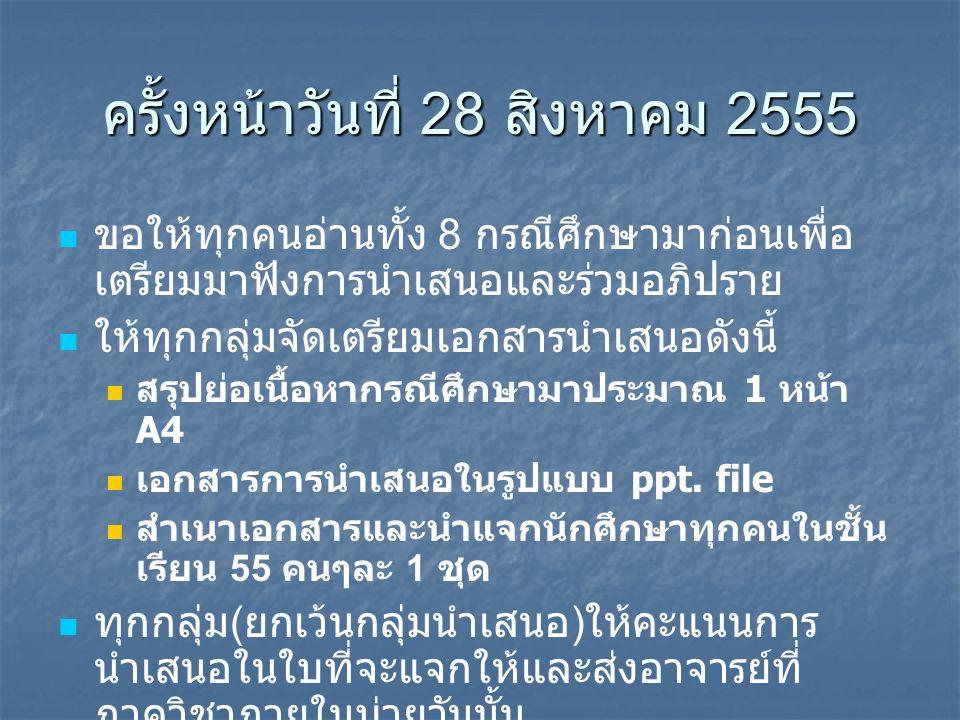 ครั้งหน้าวันที่ 28 สิงหาคม 2555 ขอให้ทุกคนอ่านทั้ง 8 กรณีศึกษามาก่อนเพื่อ เตรียมมาฟังการนำเสนอและร่วมอภิปราย ให้ทุกกลุ่มจัดเตรียมเอกสารนำเสนอดังนี้ สร