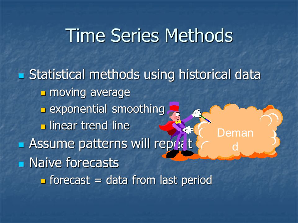 Forms Of Forecast Movement Demand Time Trend Random movement Demand Time Seasonal pattern Demand Time Demand Time Cycle Trend with seasonal pattern
