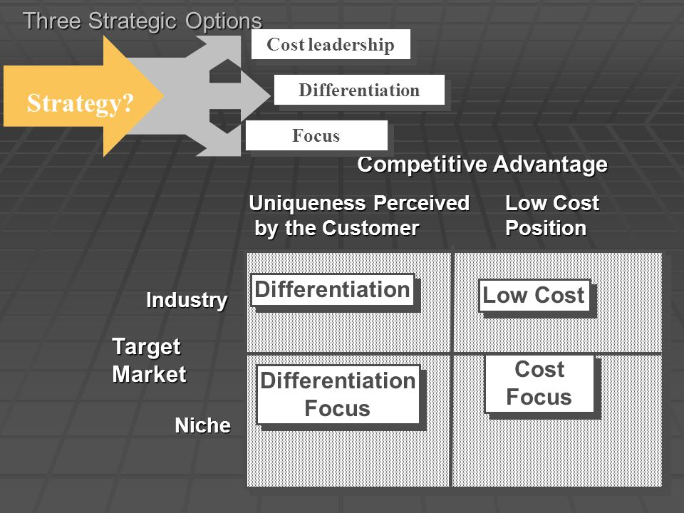 Three Strategic Options Competitive Advantage TargetMarket Industry Niche Uniqueness Perceived by the Customer by the Customer Low Cost Position Diffe