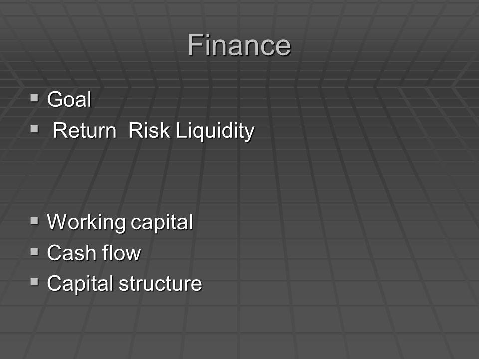 Finance  Goal  Return Risk Liquidity  Working capital  Cash flow  Capital structure
