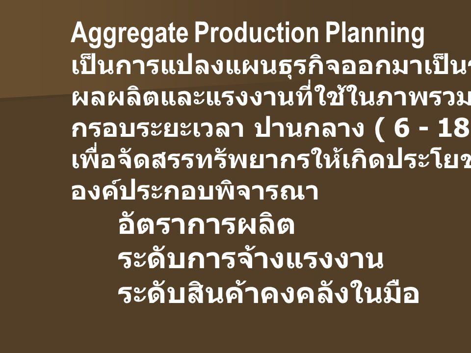 Master Production Schedule เป็นแผนการผลิตหลักระยะสั้นที่มีอุปสงค์จาก ลูกค้าชัดเจนแล้ว มีการระบุรุ่นสินค้า จำนวนและเวลาการส่งมอบที่ ชัดเจน แต่ยังไม่มีกำหนดตารางการผลิตในรายละเอียด ที่ลงถึงการปฎิบัติงาน