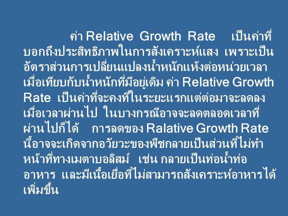 ค่า Relative Growth Rate เป็นค่าที่ บอกถึงประสิทธิภาพในการสังเคราะห์แสง เพราะเป็น อัตราส่วนการเปลี่ยนแปลงน้ำหนักแห้งต่อหน่วยเวลา เมื่อเทียบกับน้ำหนักที่มีอยู่เดิม ค่า Relative Growth Rate เป็นค่าที่จะคงที่ในระยะแรกแต่ต่อมาจะลดลง เมื่อเวลาผ่านไป ในบางกรณีอาจจะลดตลอดเวลาที่ ผ่านไปก็ได้ การลดของ Ralative Growth Rate นี้อาจจะเกิดจากอวัยวะของพืชกลายเป็นส่วนที่ไม่ทำ หน้าที่ทางเมตาบอลิสม์ เช่น กลายเป็นท่อน้ำท่อ อาหาร และมีเนื้อเยื่อที่ไม่สามารถสังเคราะห์อาหารได้ เพิ่มขึ้น
