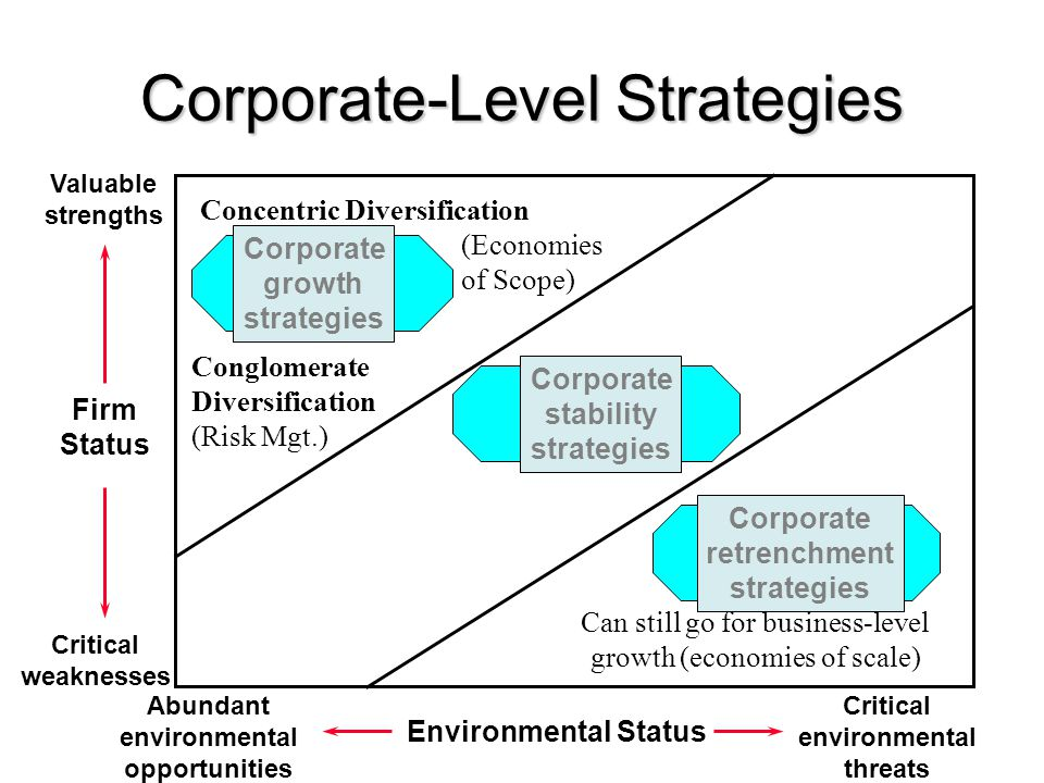 Corporate-Level Strategies Firm Status Valuable strengths Critical weaknesses Environmental Status Abundant environmental opportunities Critical envir