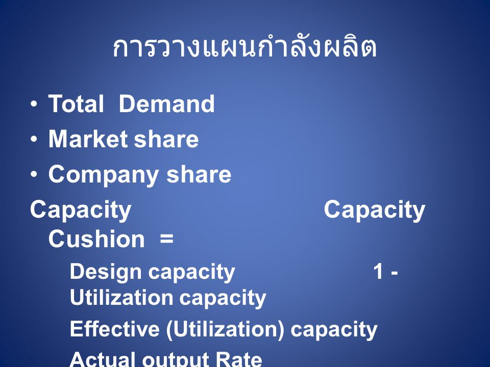 การวางแผนกำลังผลิต Total Demand Market share Company share CapacityCapacity Cushion = Design capacity1 - Utilization capacity Effective (Utilization)