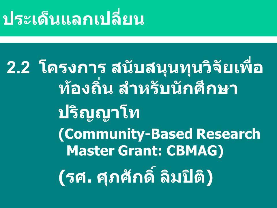 2.2 โครงการ สนับสนุนทุนวิจัยเพื่อ ท้องถิ่น สำหรับนักศึกษา ปริญญาโท (Community-Based Research Master Grant: CBMAG) (รศ. ศุภศักดิ์ ลิมปิติ) ประเด็นแลกเป