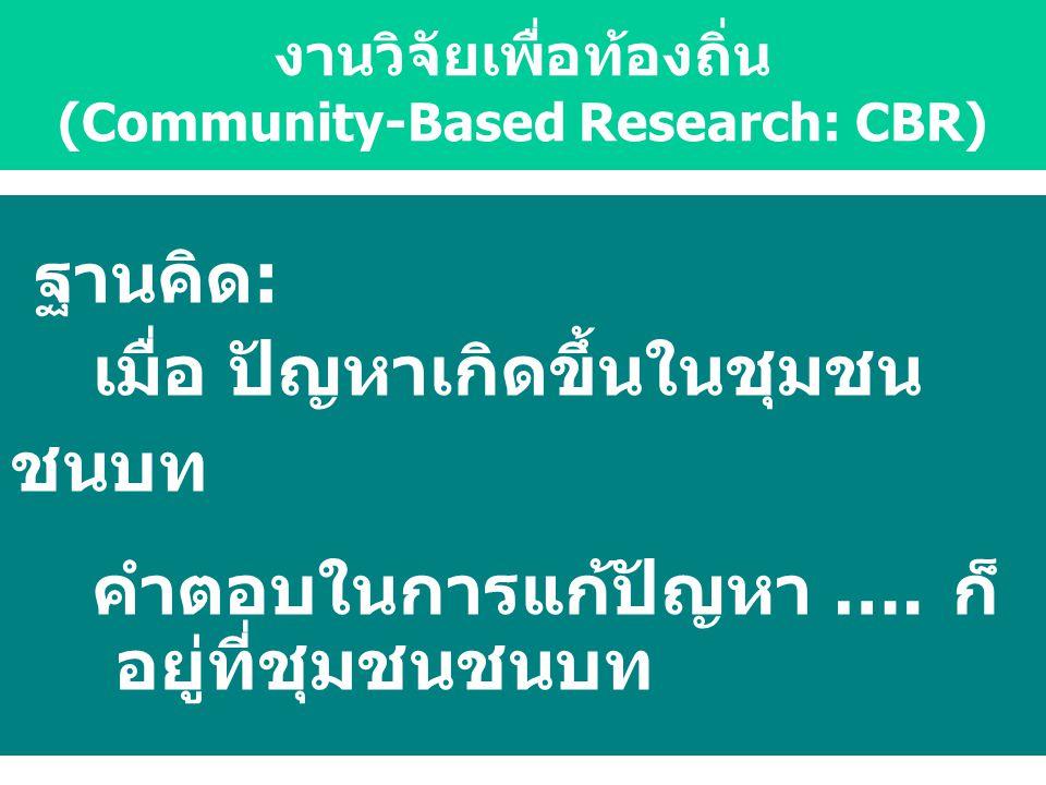 ฐานคิด: เมื่อ ปัญหาเกิดขึ้นในชุมชน ชนบท คำตอบในการแก้ปัญหา …. ก็ อยู่ที่ชุมชนชนบท งานวิจัยเพื่อท้องถิ่น (Community-Based Research: CBR)
