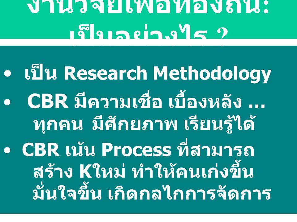 เป็น Research Methodology CBR มี ความเชื่อ เบื้องหลัง … ทุกคนมีศักยภาพ เรียนรู้ได้ CBR เน้น Process ที่สามารถ สร้าง Kใหม่ ทำให้คนเก่งขึ้น มั่นใจขึ้น เ