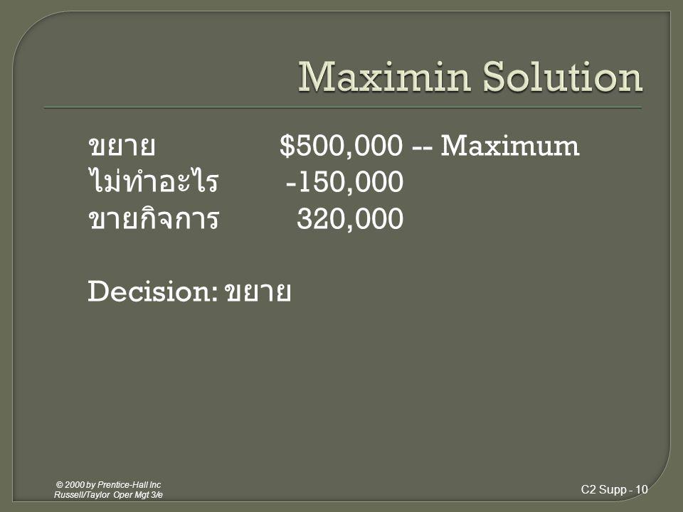 C2 Supp - 9 © 2000 by Prentice-Hall Inc Russell/Taylor Oper Mgt 3/e ขยาย $800,000 ไม่ทำอะไร 1,300,000 -- Maximum ขายกิจการ 320,000 Decision: ไม่ทำอะไร