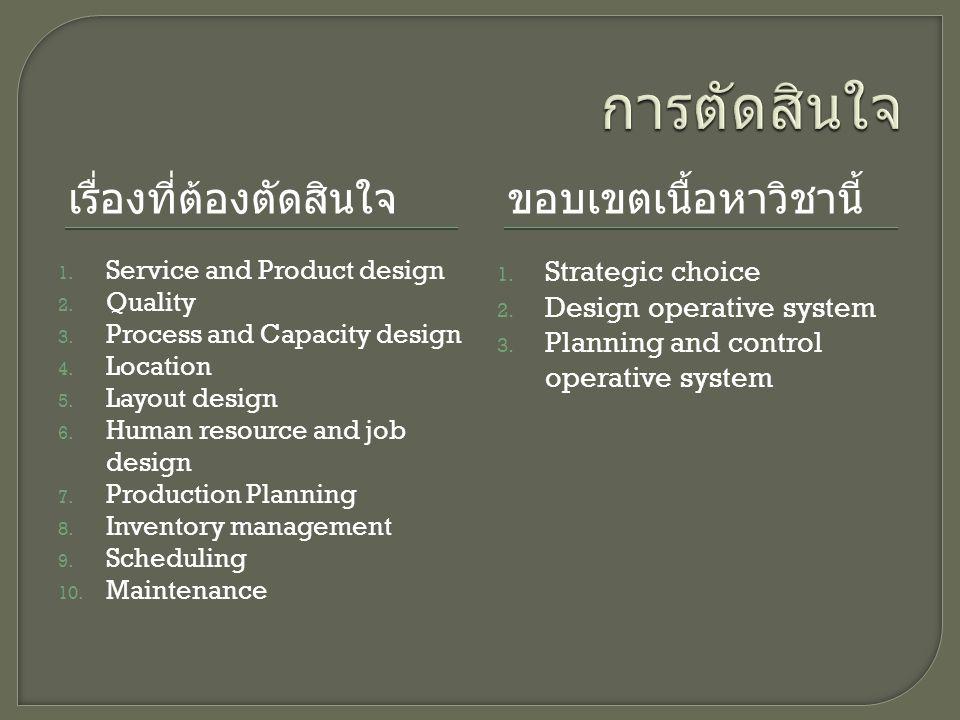 เรื่องที่ต้องตัดสินใจขอบเขตเนื้อหาวิชานี้ 1.Service and Product design 2.