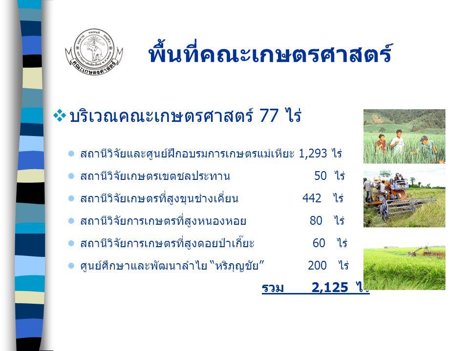  บริเวณคณะเกษตรศาสตร์ 77 ไร่ พื้นที่คณะเกษตรศาสตร์ สถานีวิจัยและศูนย์ฝึกอบรมการเกษตรแม่เหียะ 1,293 ไร่ สถานีวิจัยเกษตรเขตชลประทาน 50 ไร่ สถานีวิจัยเก