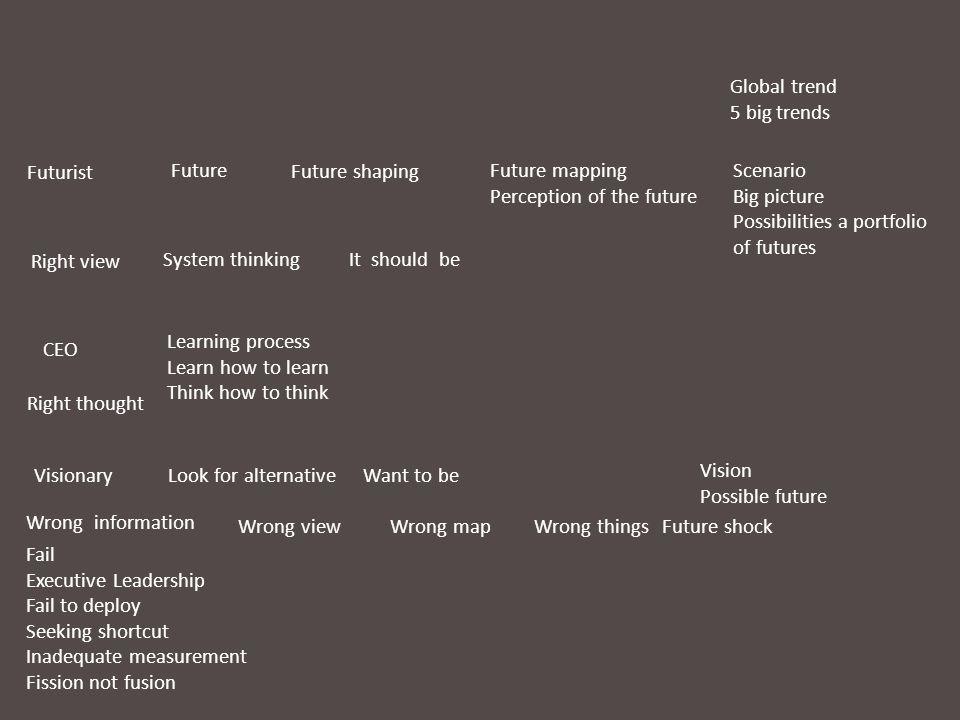Global trend 5 big trends Scenario Big picture Possibilities a portfolio of futures Vision Possible future FutureFuture mapping Perception of the futu