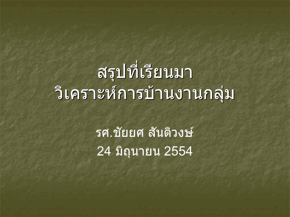 สรุปที่เรียนมา วิเคราะห์การบ้านงานกลุ่ม รศ. ชัยยศ สันติวงษ์ 24 มิถุนายน 2554