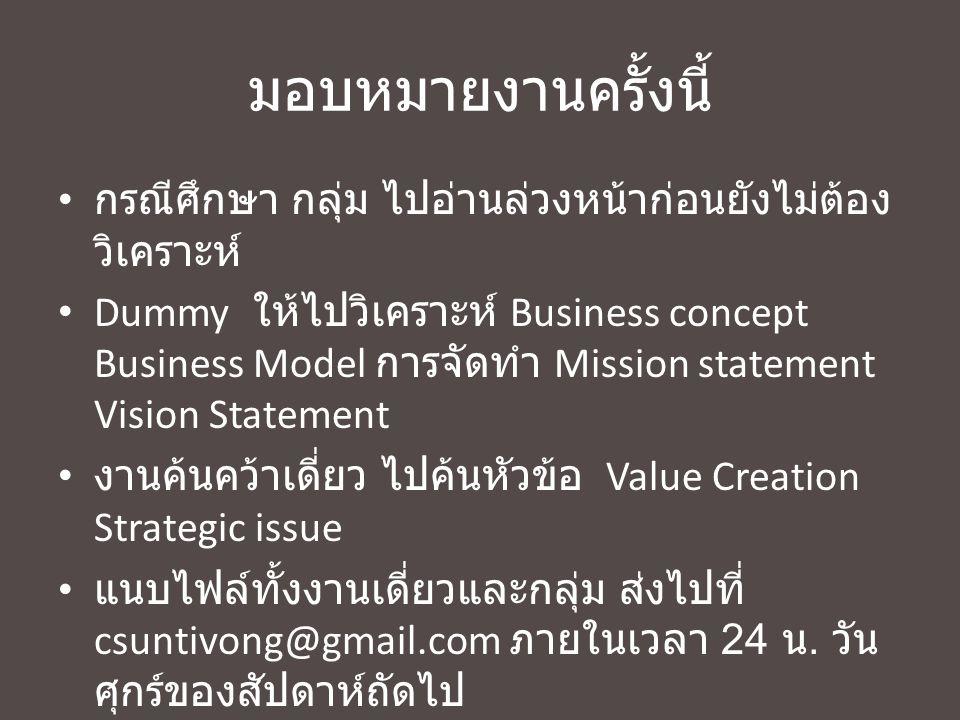 หัวข้อวันนี้ 09.15 เช็คชื่อเข้าชั้นเรียน ทบทวนสิ่งที่เรียนรู้มาในวันที่ 3 พฤศจิกายน 2556 มอบหมายงานเดี่ยว ค้นคว้าเดี่ยว Value creation, Strategic issue ไปทบทวนการทำ Scenario และ Strategic thinking What business we want to be in.