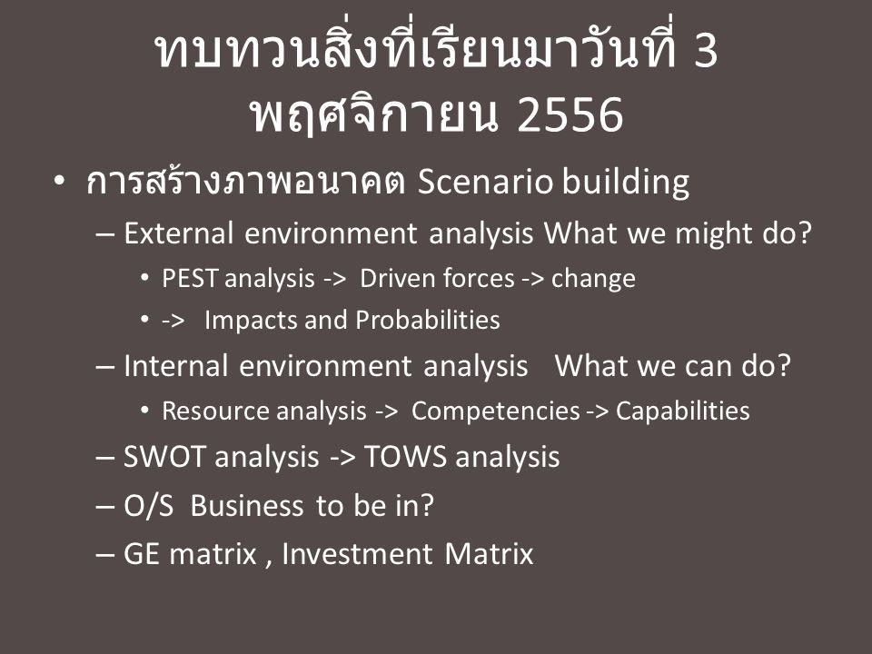 ทบทวนสิ่งที่เรียนมาวันที่ 3 พฤศจิกายน 2556 การสร้างภาพอนาคต Scenario building – External environment analysis What we might do? PEST analysis -> Drive
