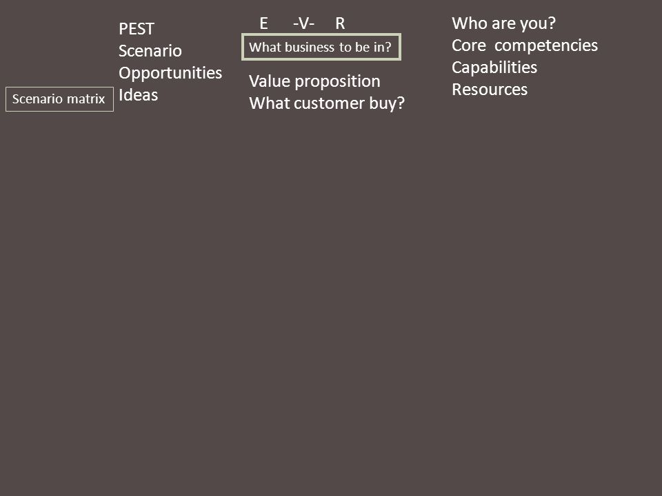 E -V- R PEST Scenario Opportunities Ideas Who are you? Core competencies Capabilities Resources Value proposition What customer buy? Scenario matrix W