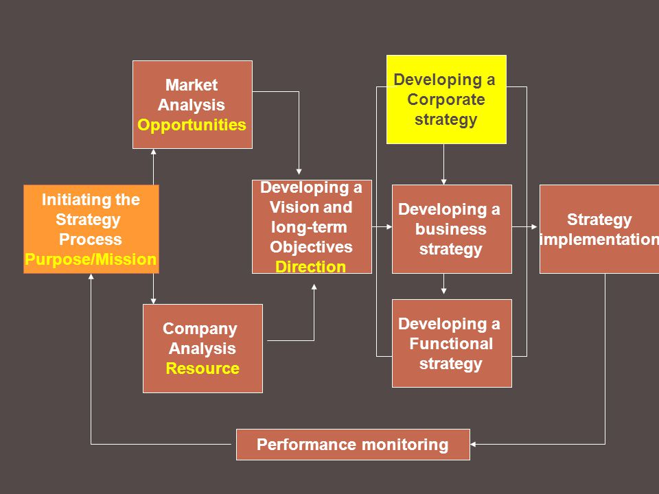 Initiating the Strategy Process Purpose/Mission Market Analysis Opportunities Company Analysis Resource Developing a Vision and long-term Objectives Direction Developing a Corporate strategy Developing a Functional strategy Developing a business strategy Strategy implementation Performance monitoring