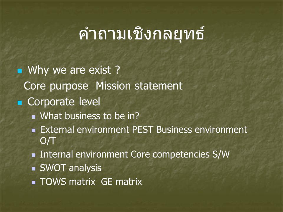 คำถามเชิงกลยุทธ์ Why we are exist ? Core purpose Mission statement Corporate level What business to be in? External environment PEST Business environm