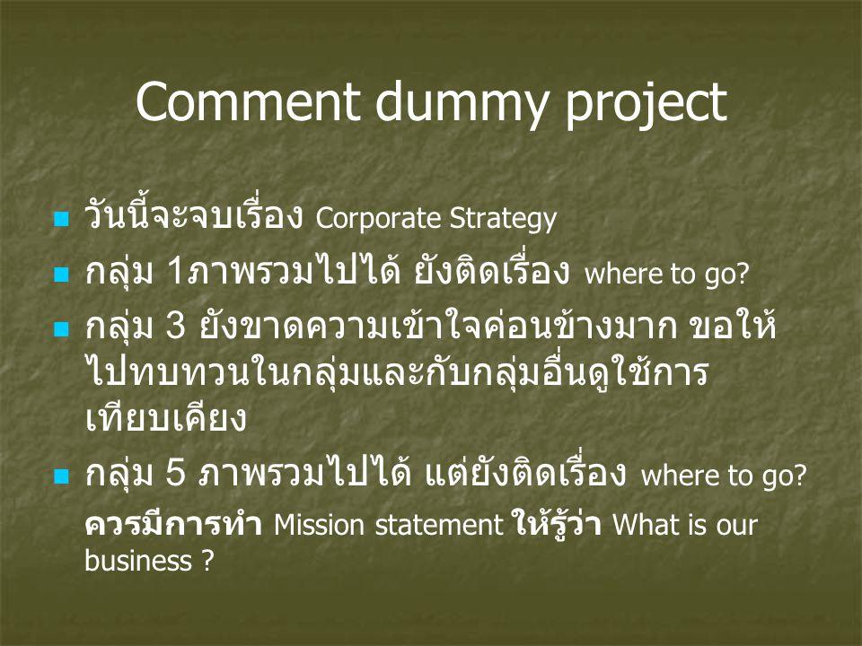 Comment dummy project วันนี้จะจบเรื่อง Corporate Strategy กลุ่ม 1 ภาพรวมไปได้ ยังติดเรื่อง where to go? กลุ่ม 3 ยังขาดความเข้าใจค่อนข้างมาก ขอให้ ไปทบ